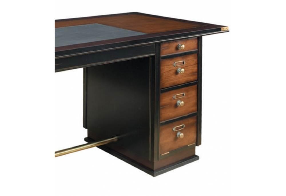 Captains Office Desk Black Wooden Nautical Maritime Furniture