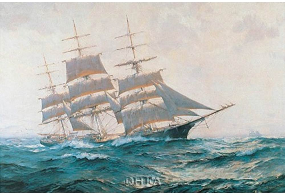 Toward Far Horizons Ship Triumphant Sailing Ship Art Poster