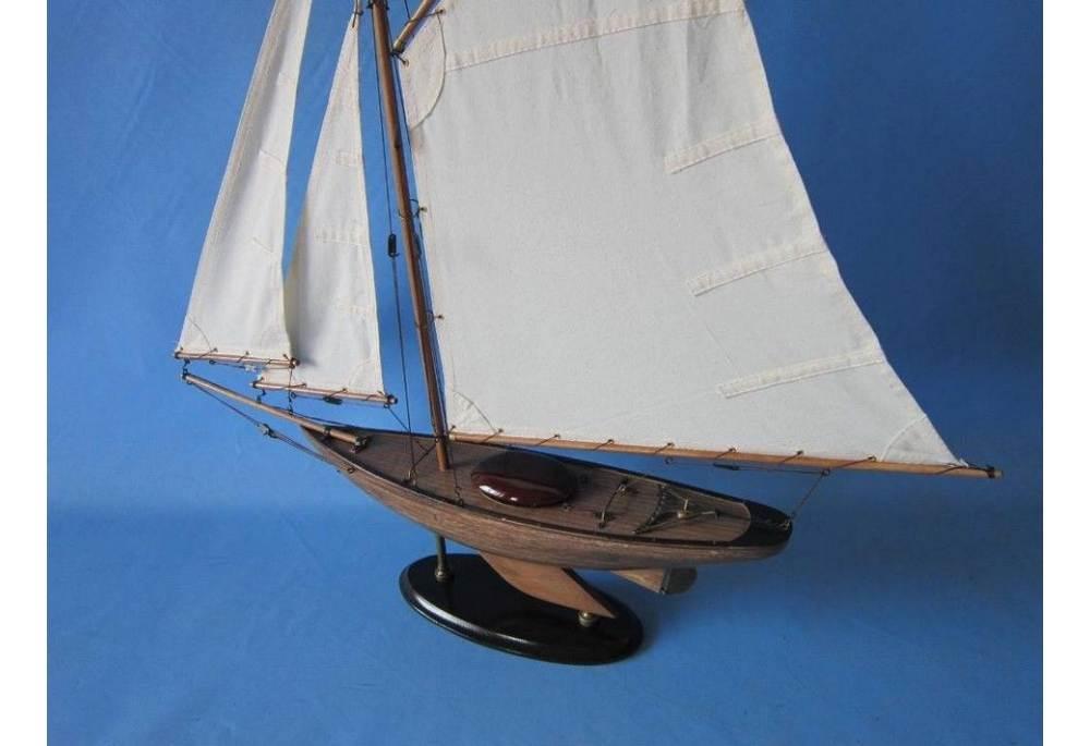 Rustic Wooden Sloop Sailboat Model