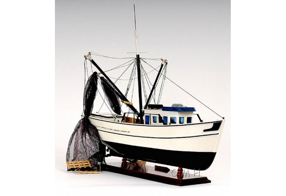 Authentic Wooden Shrimp Fishing Boat Model