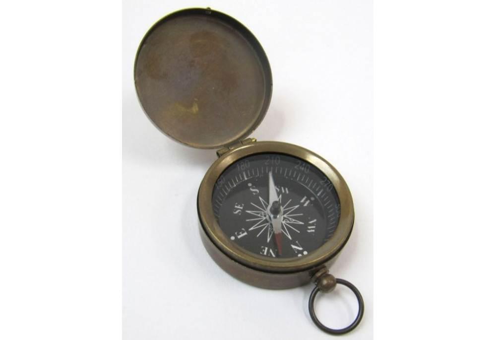 Pocket Compass Brass Antique