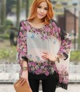 Batwing Sleeve Floral Chiffon Blouse