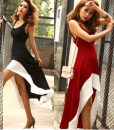 Slim Fit Plunging Neck Sexy Scoop Neck Synthetic Fiber Dress