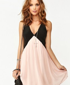 Pink Patchwork Sleeveless Neckline Chiffon Mini Dress