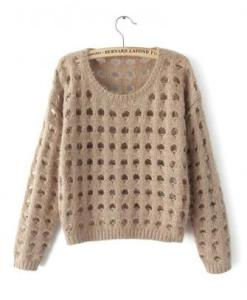 Women Fashion Hollow Hole Long Sleeve Round Collar Pullover Sweater