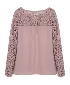 Long Sleeve Round Collar lace panel Blouse