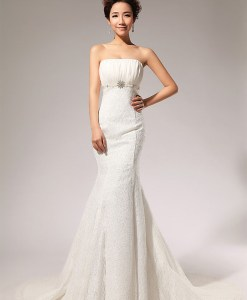 Noble Strapless Rhinestoned Beading Waist Design Women's Backless Mermaid Lace Wedding Dress