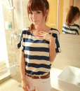 Zanzea Stripe Print Loose Short Sleeve T-Shirt