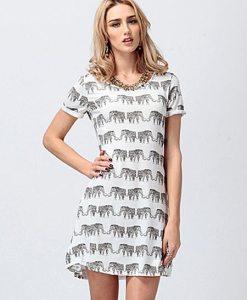 White Elephant Print Short Sleeve Loose Polyester T-Shirt