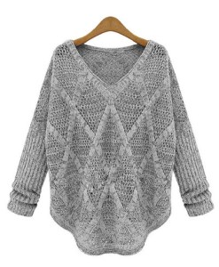 Hollow Out Long Sleeve Casual Style V-Neck Acrylic Sweater