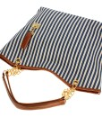 Vertical Stripe Tassel Shoulder Handbag