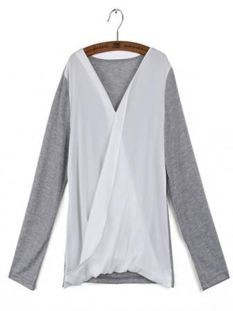 Chiffon Patchwork Casual Cotton Long Sleeve T-Shirts