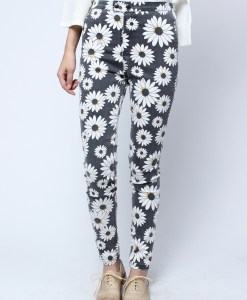 Autumn Floral Skinny Long Jeans Trousers