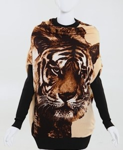 Casual Style Scoop Neck Tiger Printed Batwing Sleeve Knitting Cardigans For Women