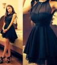 Elegant Solid Color Beam Waist Irregular Hem Chiffon Dress