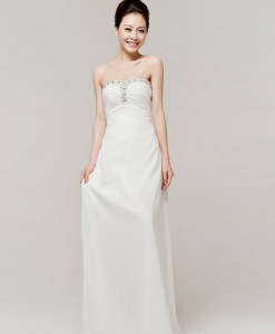 Bride Wedding Evening Party White Formal Tube Full Dress