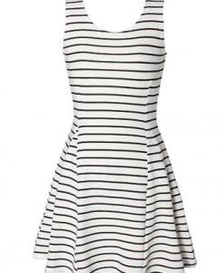 White Sleeveless Stripe Dress