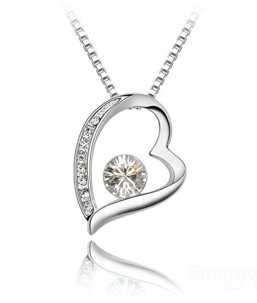 Rhinestone Crystal Heart Shaped Pendant Necklace Women Jewelry