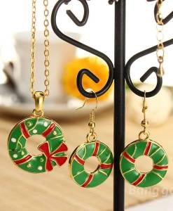 Christmas Tree Santa Claus Enamel Jewelry Set Necklace Earrings