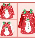 Girls Merry Christmas Snowman Dress Bow Dot Skirt