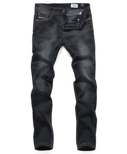 Washed Black Stars Style Straight Leg Cotton Casual Jeans