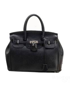 Leather Platinum Lock Women Handbag