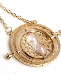 Rotating Pink Sand Hourglass Pendant Necklace Gold Plated