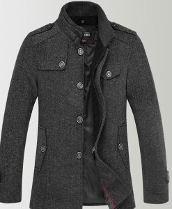 Knitted Stand Collar Wool Blend Tweed Coats Long Jackets