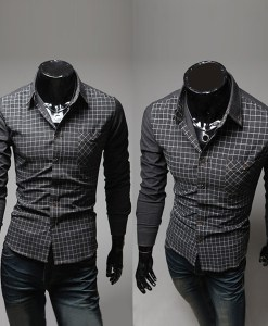 Grid Stitching Shirt Fashion Color Casual Long-sleeve Shirt