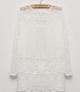 Floral Through Lace Splicing Long Sleeve Chiffon Blouse Shirts