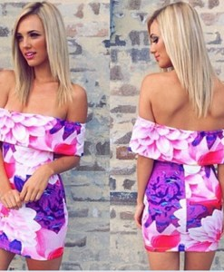 Off the Shoulder Strapless Bodycon Floral Dress