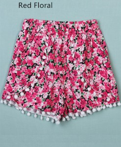 Summer Beach Shorts Floral Printed Elastic Chiffon Short Pants
