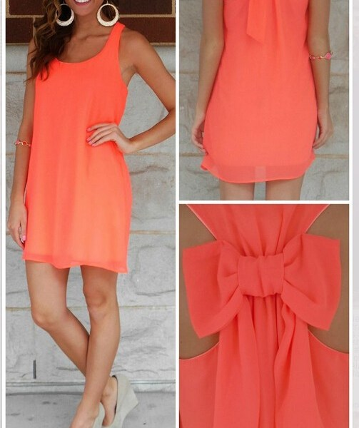 Neon Orange Chiffon Bow Back Shift Dress