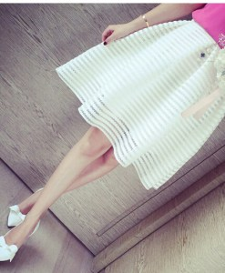 Hollow Striped Pleated Skirt
