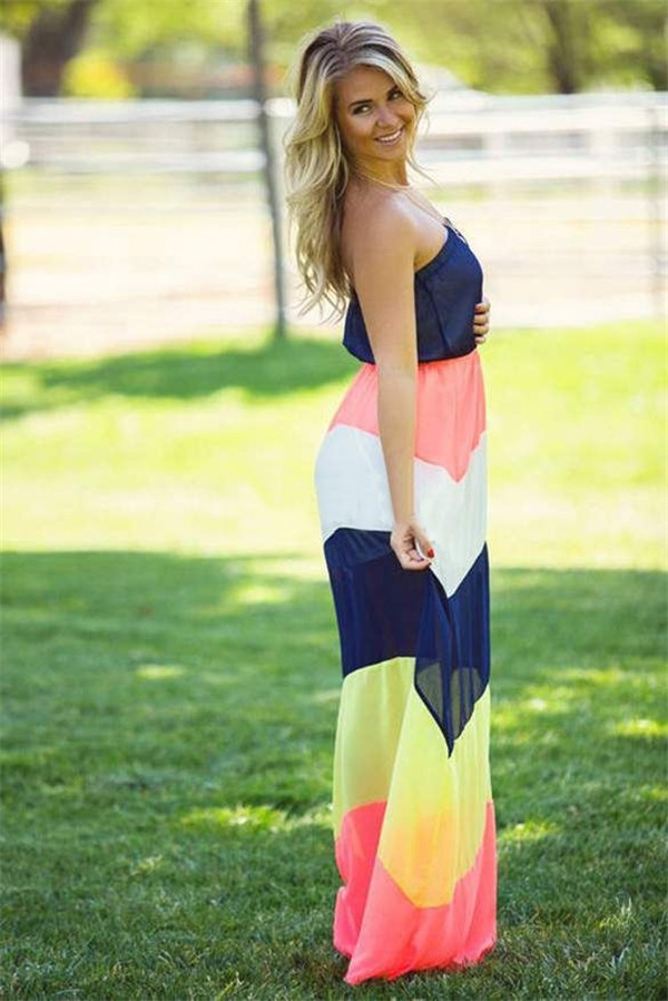 57595b04fb Color Block Strapless Maxi Dress – GonChas