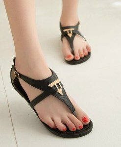 Triangle Metal T-strap Summer Sandals