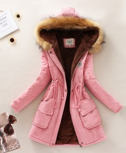 Thickening Warm Fur Collar Coat