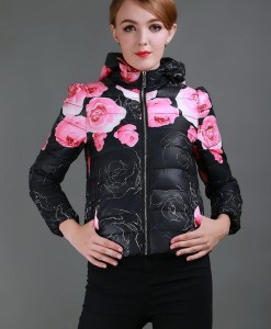 Long Sleeve Print Floral Winter Jacket