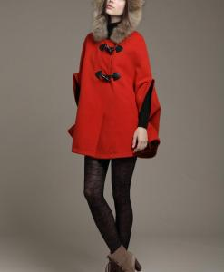 Faux Fur Collar Cape Cloak Hooded Coat