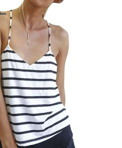 Spaghetti Strap Criss Cross Back Striped V-neck Singlet