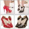 Cut-outs High Heels Patent Leather Pointed Toe Pumps