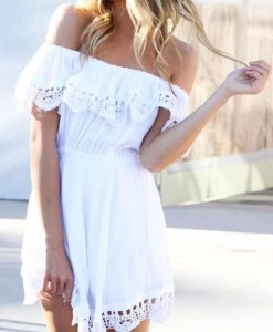 Stylish lace white Dress for summer 2016