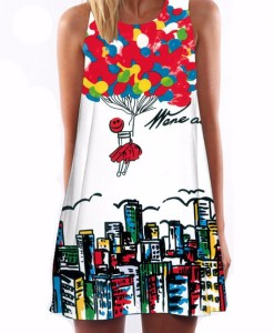 New Retro print sleeveless shift dress with heart design