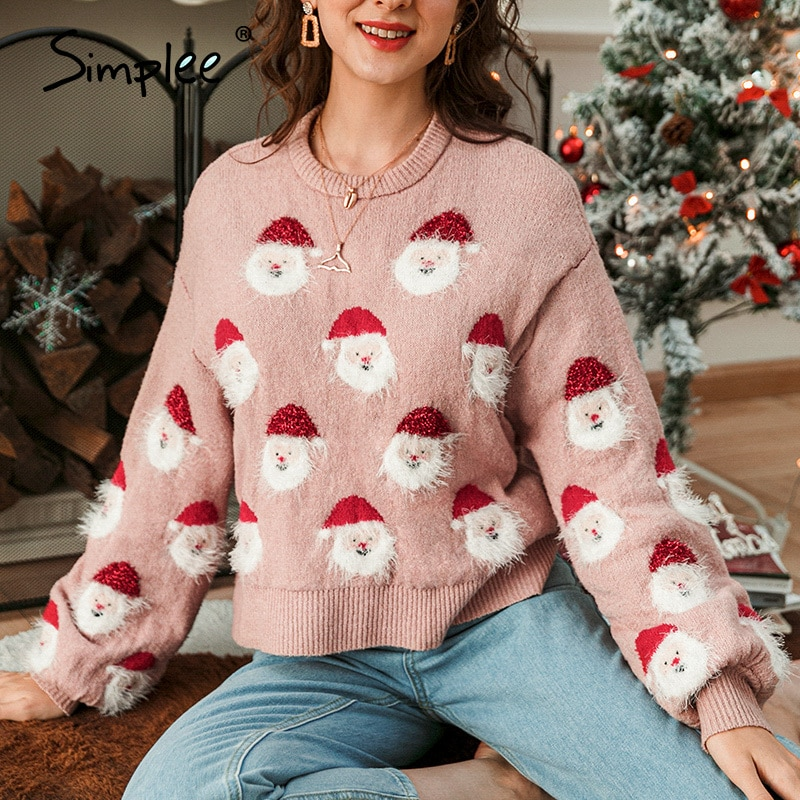 Pink Loose Knitted Warm Long Sleeves O-Neck Sweater Christmas 2020