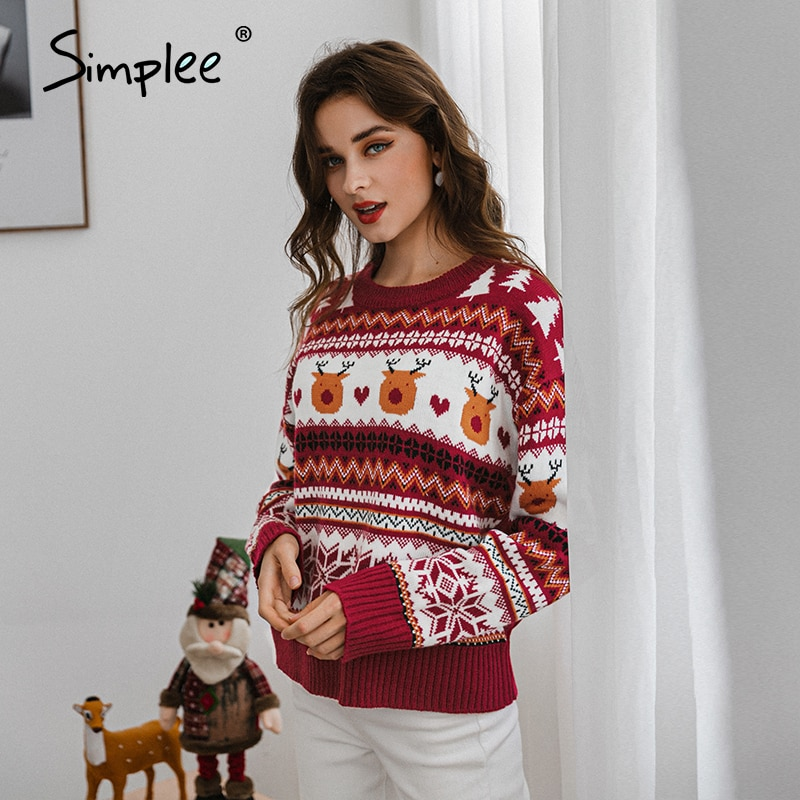 Red Long Sleeve Animal Design O-Neck Knitted Sweater Christmas 2020