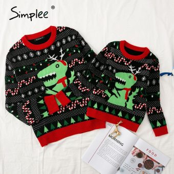 Dinosaur Cartoon Knitted Round Neck Pullover Winter Christmas 2020