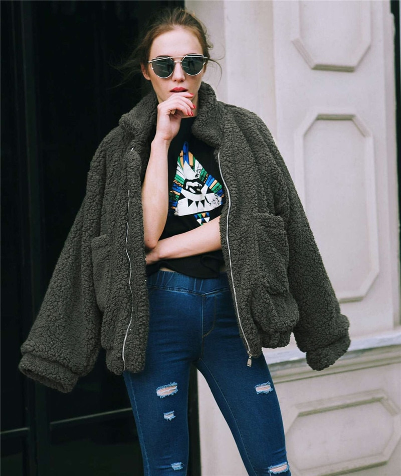 Faux Fur Warm Soft Zipper Fur Plush Cardigan