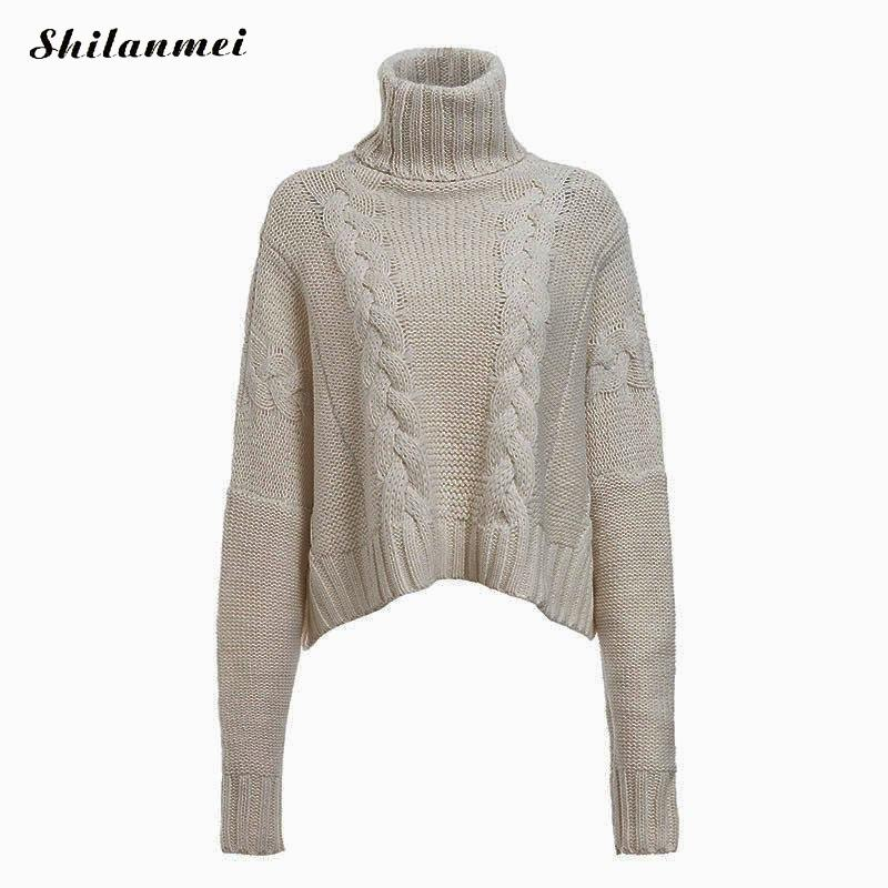 Casual Turtleneck Khaki Elegant Long Sleeve Knitted Pullover