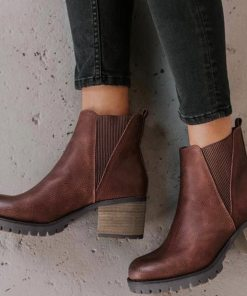 Low Heel Pu Leather Chelsea Ankle Boot Winter 2020