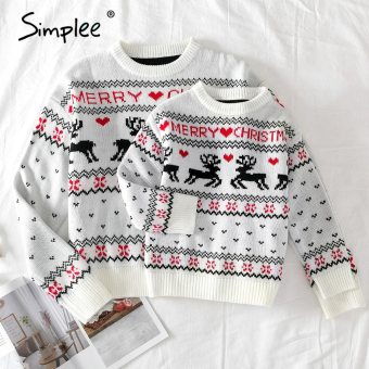 Family Matching Deer Print Knitted O-Neck Pullover Christmas 2020